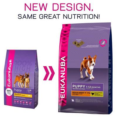 Eukanuba Puppy & Junior Medium Breed - Храна за подрастващи кученца от средните породи